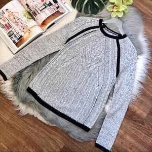 Lou & Grey Lightweight Grey Marled Crochet Sweater